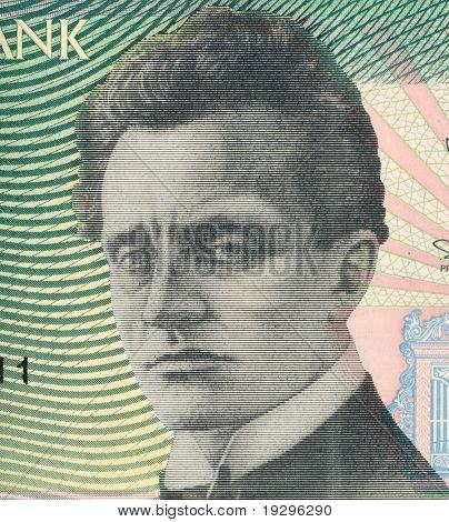 ESTONIA - CIRCA 1994: Rudolf Tobias (1873-1918) on 50 Krooni 1994 Banknote from Estonia. First Estonian  professional composer and organist.