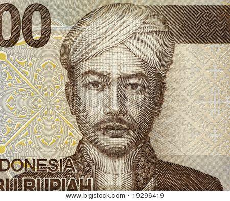 INDONESIA - CIRCA 2009: Pangeran Antasari (1797 or 1809 - 1862) on 2000 Rupiah 2009 Banknote from Indonesia. Indonesian national hero, CIRCA 2009
