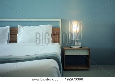 View of bedroom modern design with furnishings