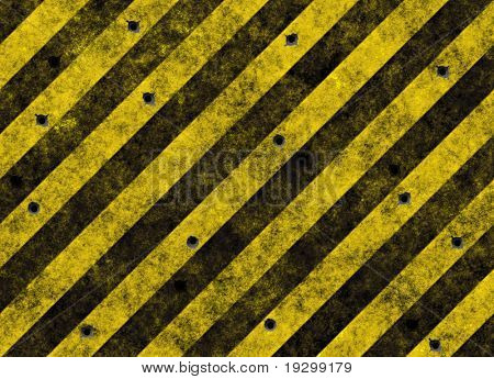 old grungy yellow hazard stripes on black road full of bulletholes