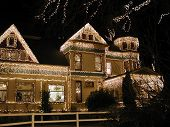 picture of christmas lights  - christmas lights on victorian mansion  - JPG