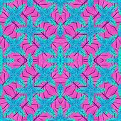 Stylized Floral Check Seamless Pattern Design poster