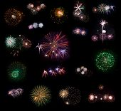 Big collection #2 of 18 real fireworks isolated on black background. Some of them in full size are i