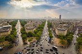 Paris City Skyline At La Defence View From Arc De Triomphe, Paris, France poster