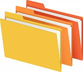 pic of file folders  - File Folders in Bright Colors Vector Illustration - JPG