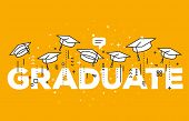 Vector Illustration Of Word Graduation With Graduate Caps On A Yellow Background. Congratulation Gra poster