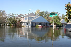 stock photo of katrina  - this photo shows the flooding incurred in new orleans after hurricane katrina - JPG