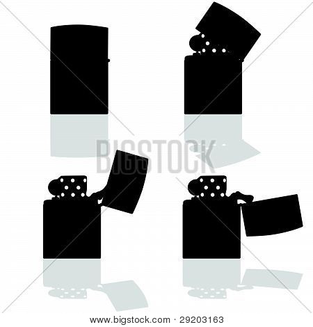 Lighter In Four Positions Open Vector Silhouette