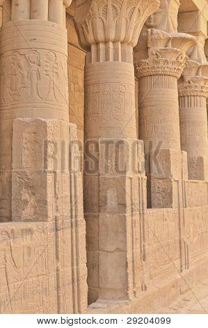 Columns Of Hathor Head Goddess In Philae Temple ( Egypt)