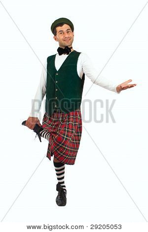 Expressive Man In Scottish Costume.