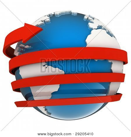 Red arrow flying around a blue globe in 3D