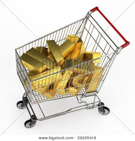 Many gold bullion bars in a shopping cart