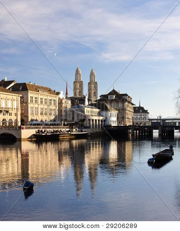 Zurich Old City Reflecting In The River