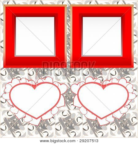 two blank instant photo frames with heart shapes on wood