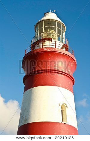 Close up of lighthouse, Cape Agulhas, South Africa