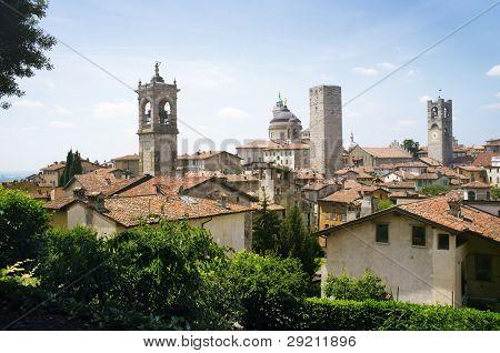 Bergamo Citta Alta old town scenics. Bergamo, Lombardy, Italy.