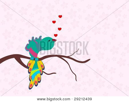 A beautiful colorful bird singing a song with heats on seamless floral background for Valentines Day and other occasions.