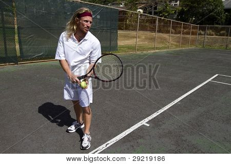 Male Tennis Player Gets Ready To Serve