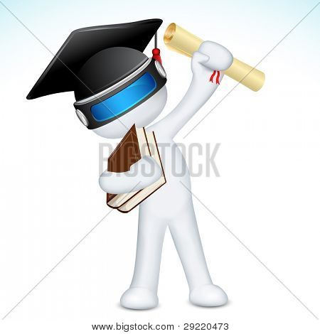 illustration of 3d man in vector fully scalable with degree and graduation hat