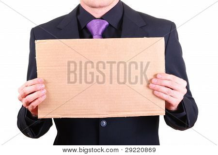 Businessman With Blank Cardboard Sign