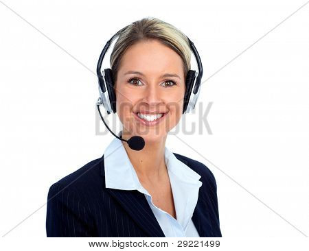 Rufen Sie Kunden Center Operator weiblich. Isolated over white background