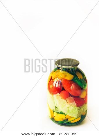 Preserved Vegetables On White Background