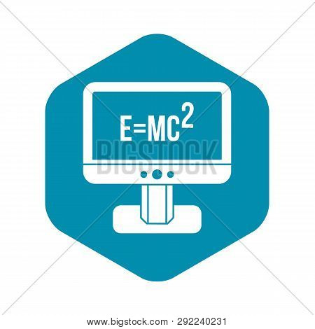 poster of Monitor With Einstein Formula Icon In Simple Style Isolated On White Background. Science Symbol