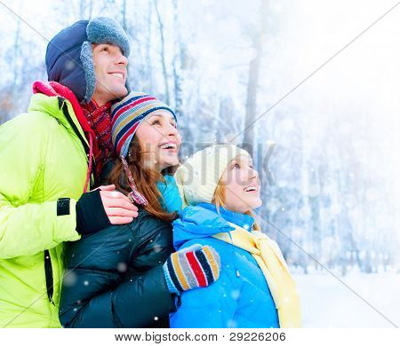 .Happy Family Outdoors. Snow.Winter Vacations