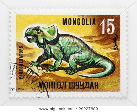 MONGOLIA - CIRCA 1972: A stamp printed in The Mongolia shows Protoceratops a genus of sheep-sized herbivorous ceratopsian dinosaur  that lived around from circa 145.5 million years ago, circa 1972.