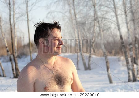 Man After Winter Swimming