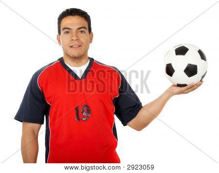 Male Footballer Holding A Football
