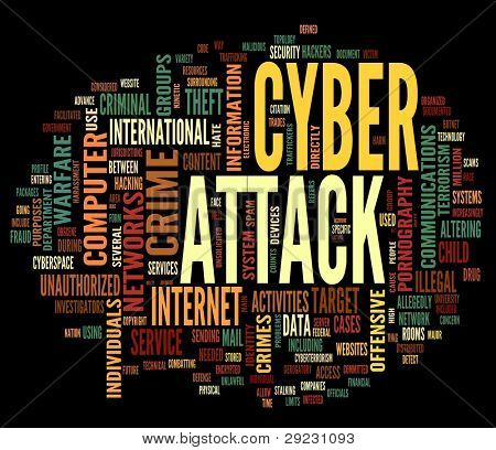 Cyber attack concept in word tag cloud isolated on black background