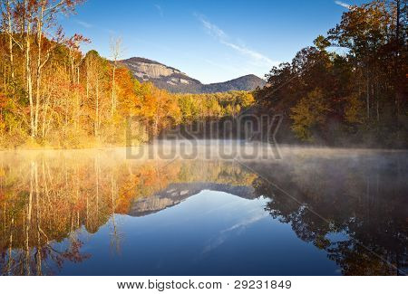 South Carolina Autumn Sunrise Landscape Table Rock Fall Foliage Reflections