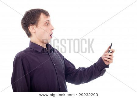 Funny Surprised Nerd Man Looking At Cellphone