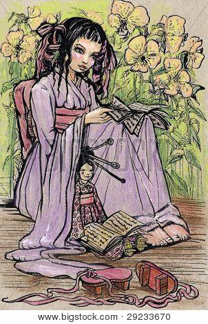 Pequeno livro de leitura de menina asiática para sua boneca