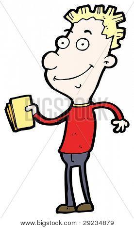 hombre con dibujos animados de billetes