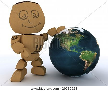 3D render of a Cardboard Box figure with globe