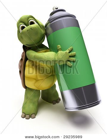 3D render of a Tortoise with a spray can