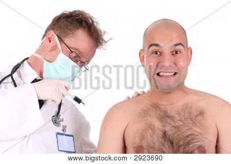 Doctor Injecting A Funk Patient