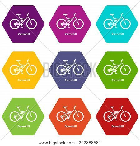 Downhill Bicycle Icons 9 Set