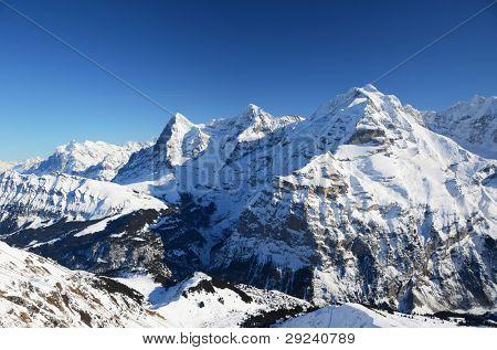 Eiger, Mönch and Jungfrau: three famous Swiss mountain peaks