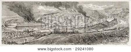 Le Creusot antiga visão, France1867. Criado por Lancelot depois Bonhomme, publicado em Le Tour du Monde,