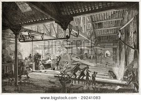 Rails forging workshop in Le Creusot, France. Created by Bonhomme and Laplante, published on Le Tour du Monde, Paris, 1867