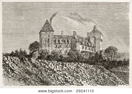Chateau d'Epinac old view, France. Created by Therond after photo by unknown author, published on Le Tour du Monde, Paris, 1867