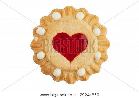Round Cookie With A Heart Of Jam