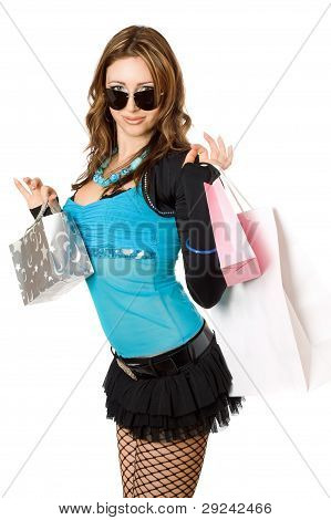 Happy Young Woman After Shopping. Isolated On White