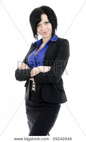 Portrait Of A Business Woman With Arms Crossed. Over White Background.