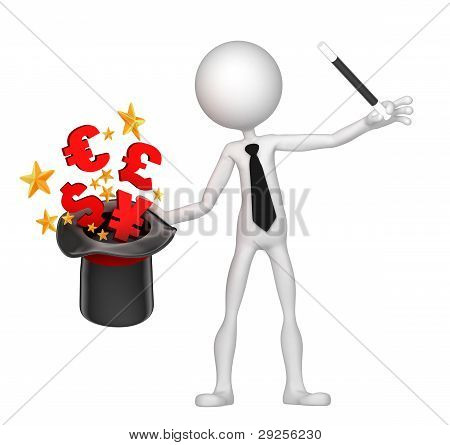 Businessman Wizard Make Money From His Hat