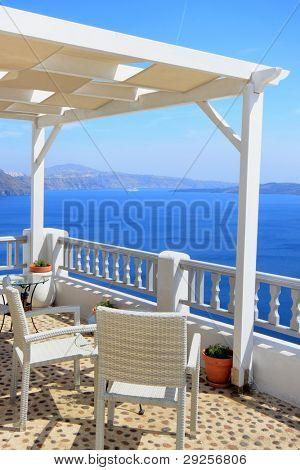 Santorini village terasse by  the sea
