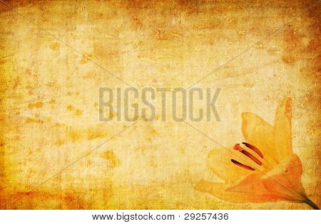 Abstract Grunge Yellow Lilly Background